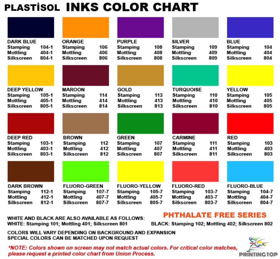 PT-PF (Phthalate Free)/PHTHALATE FREE Color Guide List