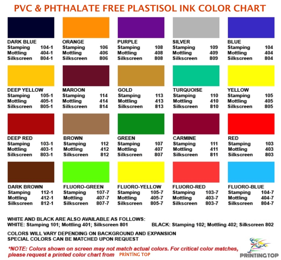 PVC & PHTHALATE FREE Color Guide List